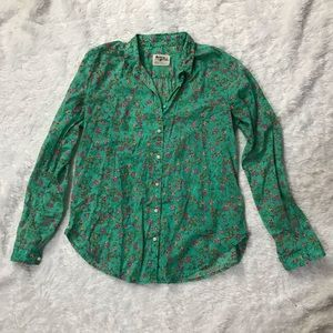 💐Anthro Holding Horses Green Floral Button Up